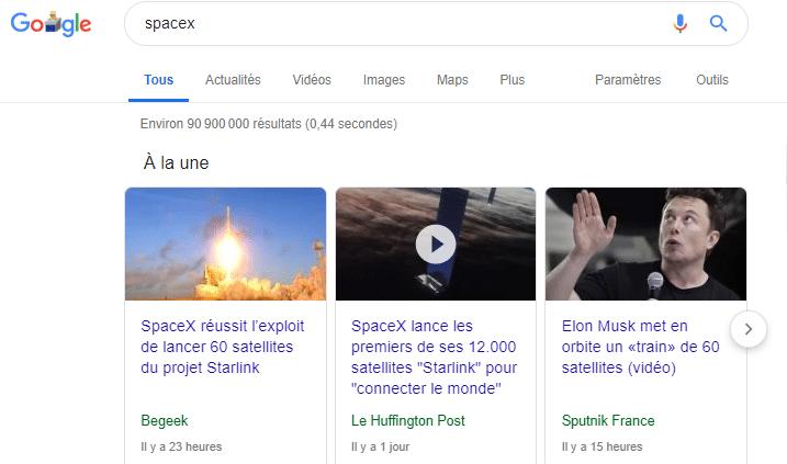 Recherche Space X