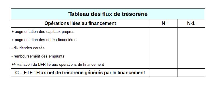 Tableau des flux de trésorerie - Financement