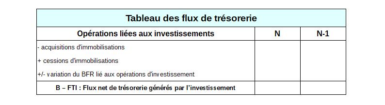 Tableau des flux de trésoreries - Investissement