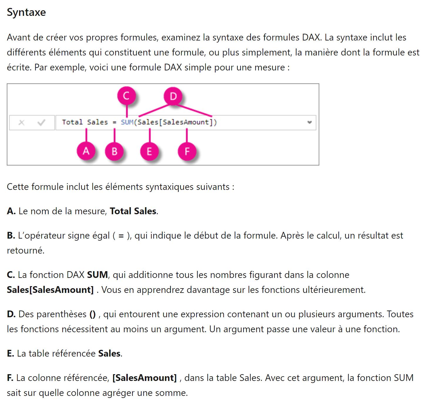DAX syntaxe